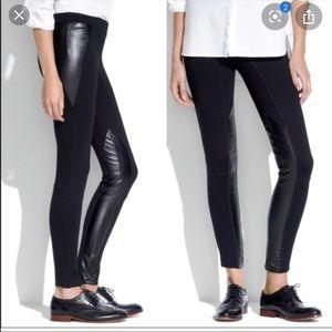 Madewell Faux Leather Ponte Legging Pants Sz 4
